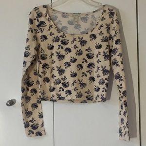F21 Violet floral print long sleeves crop top